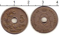 Изображение Монеты Бельгия 5 сентим 1923 Медно-никель XF