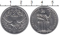 Изображение Монеты Новая Каледония 2 франка 1990 Алюминий UNC
