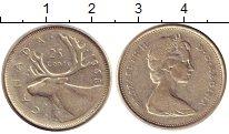 Изображение Монеты Канада 25 центов 1968 Серебро XF Елизавета II.  Благо