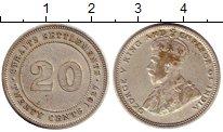 Изображение Монеты Великобритания Стрейтс-Сеттльмент 20 центов 1927 Серебро XF
