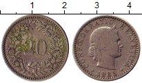 Изображение Монеты Швейцария 10 рапп 1883 Медно-никель VF голова женщины