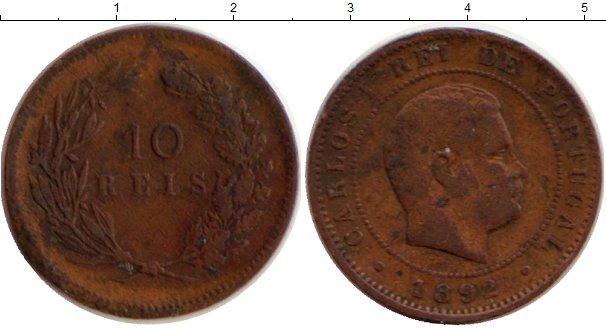 Картинка Монеты Португалия 10 рейс Бронза 1892