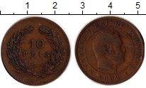 Изображение Монеты Португалия 10 рейс 1892 Бронза XF Карлос I