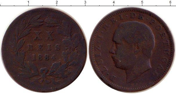 Картинка Монеты Португалия 20 рейсов Бронза 1884