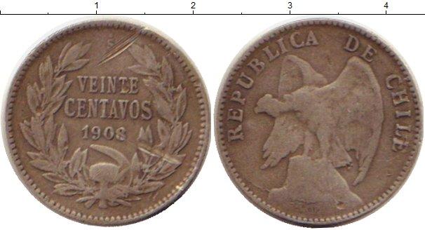 Картинка Монеты Чили 20 сентаво Серебро 1908