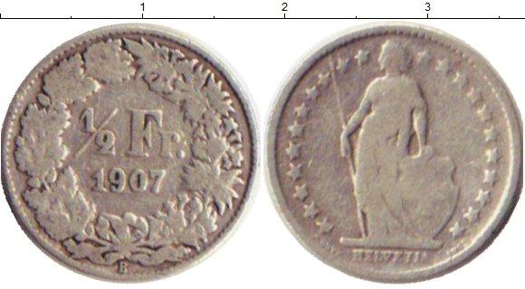 Картинка Монеты Швейцария 1/2 франка Серебро 1907