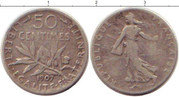 Картинка Монеты Франция 50 сантим Серебро 1907