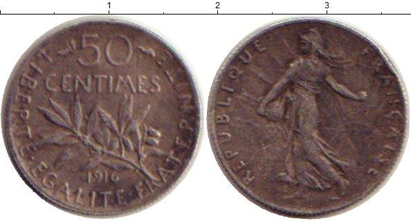 Картинка Монеты Франция 50 сантимов Серебро 1916