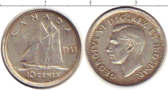 Картинка Монеты Канада 10 центов Серебро 1943
