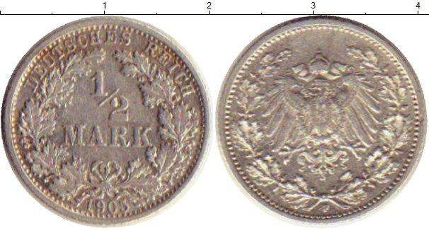 Картинка Монеты Германия 1/2 марки Серебро 1905
