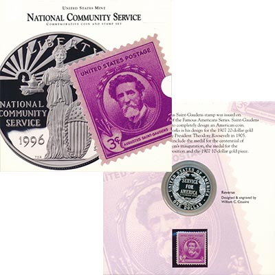 Изображение Подарочные наборы США Корпорация государственной и муниципальной службы 1996 Серебро Proof Монета номиналом 1 д