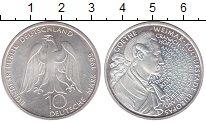 Изображение Монеты ФРГ 10 марок 1999 Серебро UNC Гёте