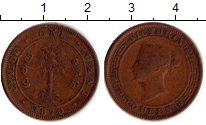 Изображение Монеты Цейлон 1 цент 1870 Бронза XF-