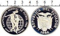 Изображение Монеты Эквадор 1.000 сукре 1986 Серебро Proof Чемпионат мира по фу