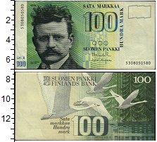 Изображение Боны Финляндия 100 марок 0  XF Лебеди