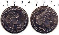 Изображение Монеты Великобритания 5 фунтов 1999 Медно-никель XF Диана.Елизавета II