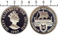 Изображение Монеты Олдерни 2 фунта 1992 Серебро Proof- Елизавета II. 40 лет