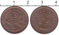 Изображение Монеты Кипр 3 милса 1955 Бронза XF+ рыба - Елизавета II