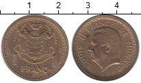 Изображение Монеты Монако 1 франк 1945 Латунь XF Князь  Монако  Луи I
