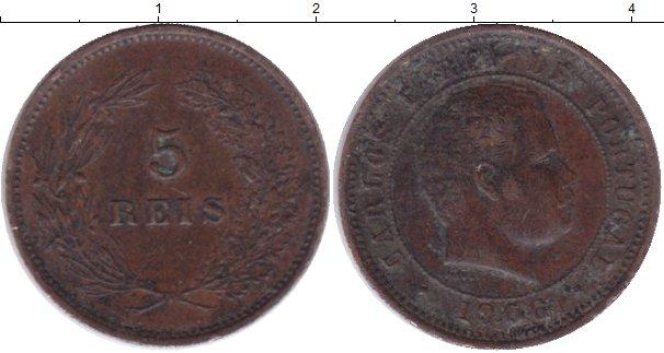 Картинка Монеты Португалия 5 рейс Бронза 1906