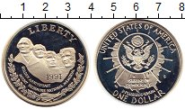 Изображение Монеты США 1 доллар 1991 Серебро Proof 50 - летие  Мемориал