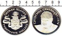 Изображение Монеты Каймановы острова 25 долларов 1974 Серебро Proof 100 - летие  Сэра  У