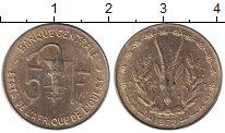 Изображение Монеты Франция Французская Африка 5 франков 1972 Латунь XF+