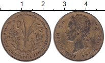 Изображение Монеты Франция Французская Африка 10 франков 1956 Латунь XF