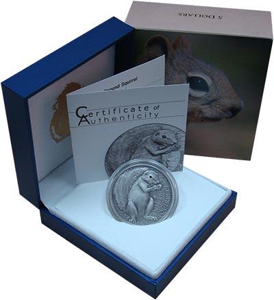 Изображение Подарочные монеты Палау 5 долларов 2013 Серебро UNC Магрибская белка.Сер