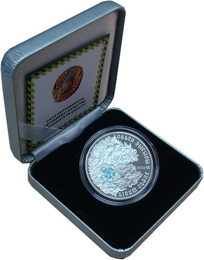 Изображение Подарочные наборы Казахстан 500 тенге 2008 Серебро Proof `Третья монета из се