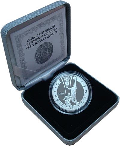 Изображение Подарочные монеты Казахстан Олимпийские игры 2016 г. Баскетбол 2014 Серебро Proof