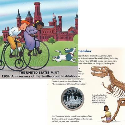 Изображение Подарочные наборы США 1 доллар 1996 Серебро Proof 150 лет Смитсоновско