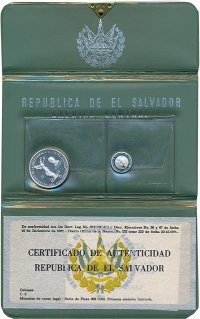 Изображение Подарочные наборы Сальвадор 150 лет Независимости Центральной америки 1971 Серебро Proof Набор из двух монет: