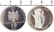 Изображение Монеты Молдавия 10 лей 2001 Серебро Proof- Дятел
