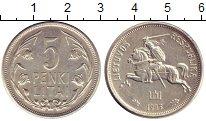 Изображение Монеты Литва 5 лит 1923 Серебро XF Герб (Витис)