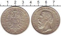 Изображение Монеты Германия Баден 5 марок 1876 Серебро XF