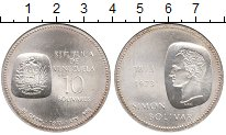 Изображение Монеты Венесуэла 10 боливар 1973 Серебро UNC- Симон Боливар