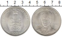Изображение Монеты Венесуэла 100 боливар 1980 Серебро UNC 150 лет со дня рожде