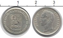 Изображение Монеты Венесуэла 25 сентим 1954 Серебро XF Симон Боливар.