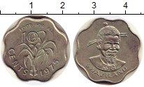 Изображение Монеты Свазиленд 10 центов 1975 Медно-никель XF Собуза II.  ФАО