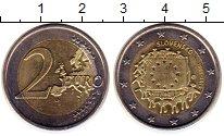 Изображение Монеты Словакия 2 евро 2015 Биметалл UNC- 30  лет  флагу  ЕС