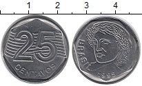 Изображение Монеты Бразилия 25 сентаво 1995 Медно-никель UNC-