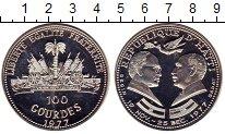 Изображение Монеты Гаити 100 гурдес 1977 Серебро Proof- Встреча М.Бегина и А