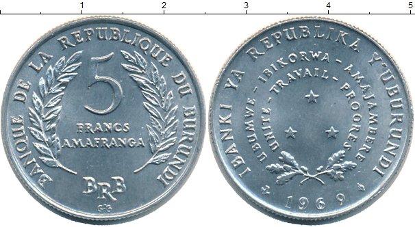 Картинка Монеты Бурунди 5 франков Алюминий 1969