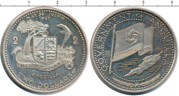 Картинка Монеты Ангилия 2 доллара Серебро 1969