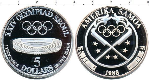 Картинка Монеты Самоа 5 долларов Серебро 1988