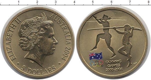 Картинка Монеты Австралия 5 долларов Латунь 2004