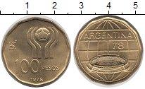 Изображение Монеты Аргентина 100 песо 1978 Латунь UNC Чемпионат мира по фу