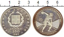 Изображение Монеты Греция 250 драхм 1982 Серебро Proof-