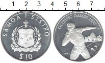 Изображение Монеты Самоа 10 долларов 1991 Серебро Proof-